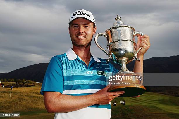 Matthew Griffin of Australia poses with the New Zealand Open trophy after winning the 2016 New Zealand Open at The Hills on March 13 2016 in...