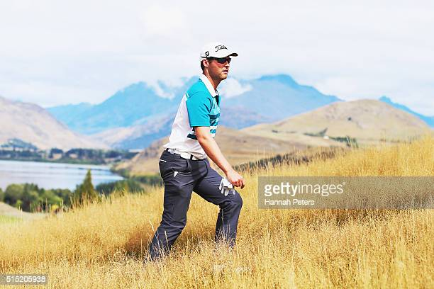 Matthew Griffin of Australia walks up to the third tee during day four of the 2016 New Zealand Open at The Hills on March 13 2016 in Queenstown New...