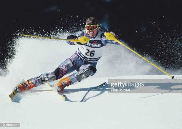 Matthew Grosjean of the United States skiing during the International Ski Federation Men's Slalom event at the Alpine Skiing World Cup on 15 December...