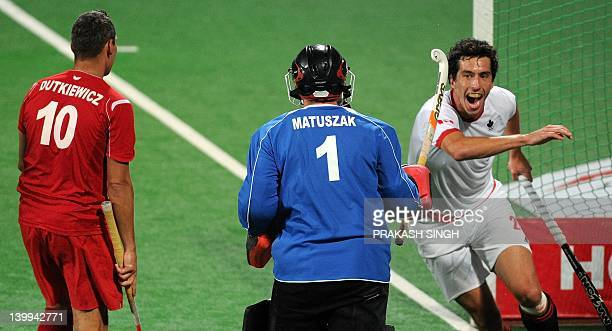 Matthew Guest of Canada celebrates after scoring a goal during the men's field hockey third place playoff match between Poland and Canada of the FIH...