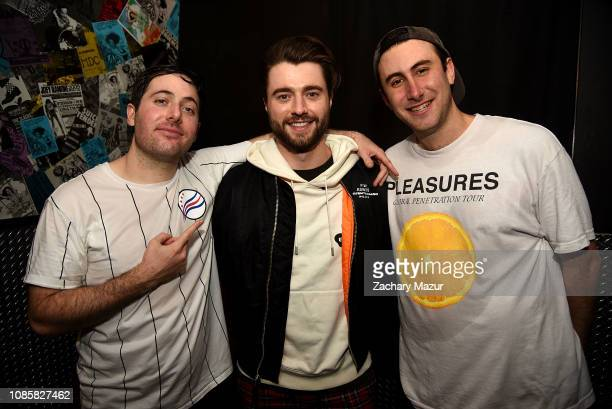 Matthew Halper, Eli Sones of Two Friends and Frank Walker pose backstage during the With My Homies Tour at Irving Plaza on January 19, 2019 in New...