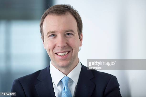 Matthew Hancock, the U.K. Conservative party's business and energy minister, poses for a photograph following a Bloomberg Television interview in...