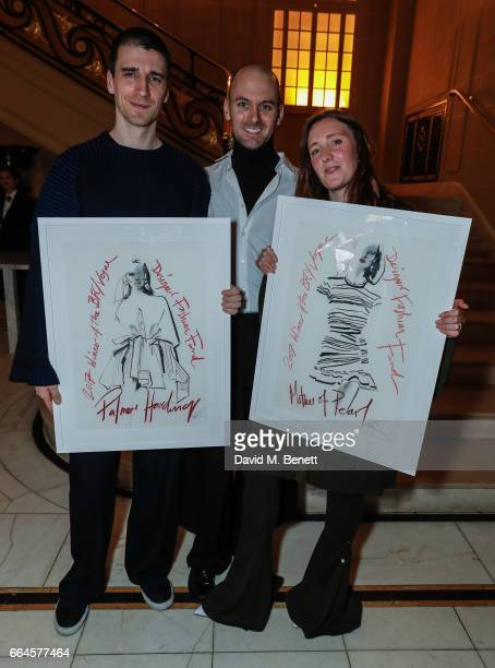 Matthew Harding Levi Palmer and Amy Powney attend the BFC/Vogue Designer Fashion Fund winners announcement at Hotel Cafe Royal on April 4 2017 in...