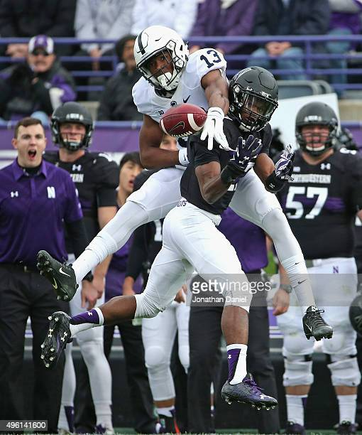Matthew Harris of the Northwestern Wildcats breaks up a pass intended for Saeed Blacknall of the Penn State Nittany Lions at Ryan Field on November 7...