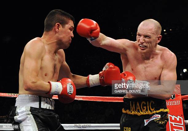 Matthew Hatton of England connects a punch to the face of Ernesto Zepeda of Mexico during their Welterweight fight at the MGM Grand Garden Arena on...