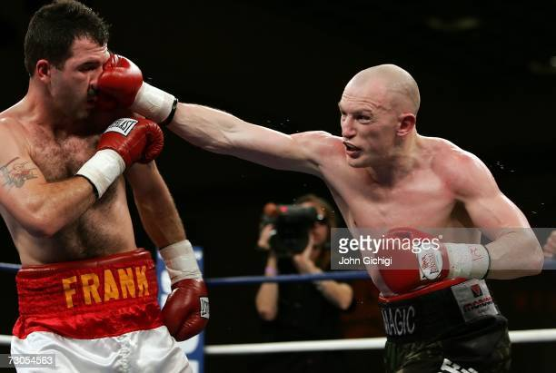 Matthew Hatton of England connects with a right to the face of Frank Houghtaling during their IBF international welterweight title fight on January...