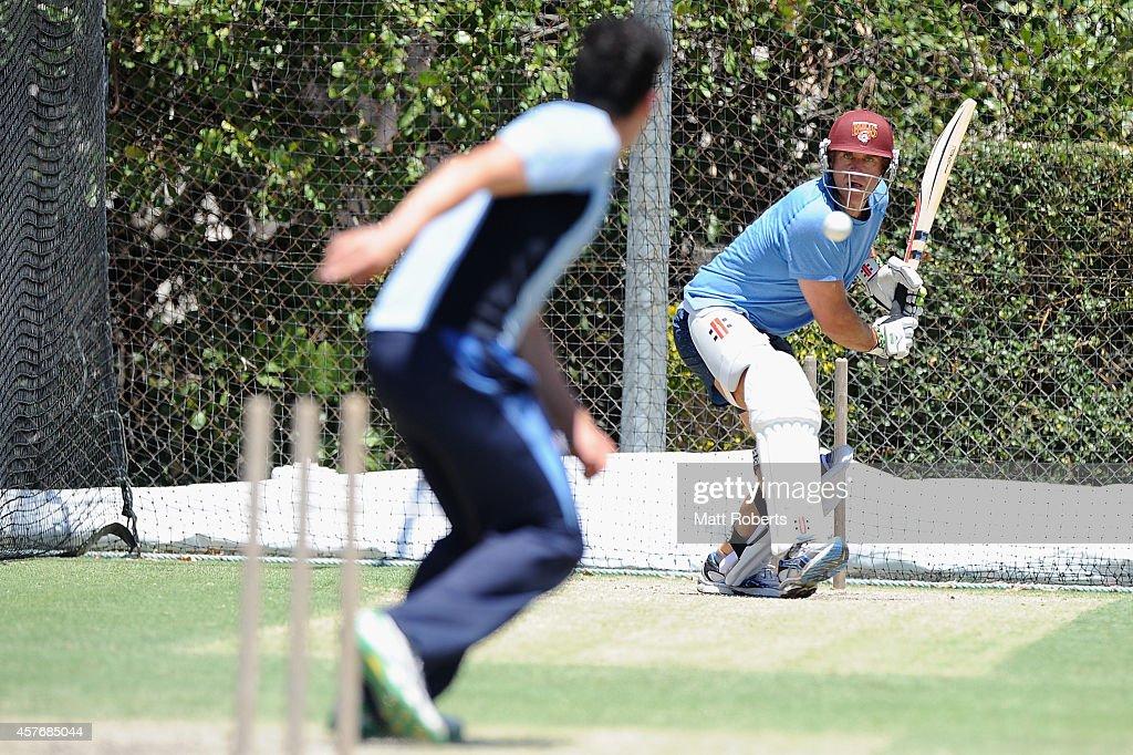 Matthew Hayden bats during the ICC Cricket World Cup net bowler program launch at Allan Border Field on October 23, 2014 in Brisbane, Australia.
