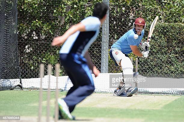 Matthew Hayden bats during the ICC Cricket World Cup net bowler program launch at Allan Border Field on October 23 2014 in Brisbane Australia