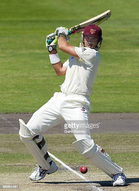 Matthew Hayden for the Bulls hits a square cut during day three of the Pura Cup match between the Victorian Bushrangers and the Queensland Bulls at...