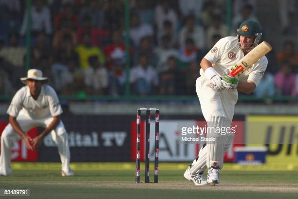 Matthew Hayden of Australia batting during day two of the Third Test match between India and Australia at the Feroz Shah Kotla Stadium on October...