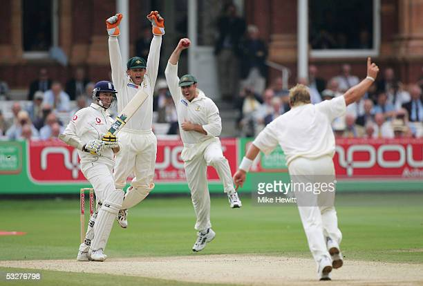 Matthew Hayden of Australia catches out Marcus Trescothick of England off the bowling of Shane Warne as wicketkeeper Adam Gilchrist celebrates during...