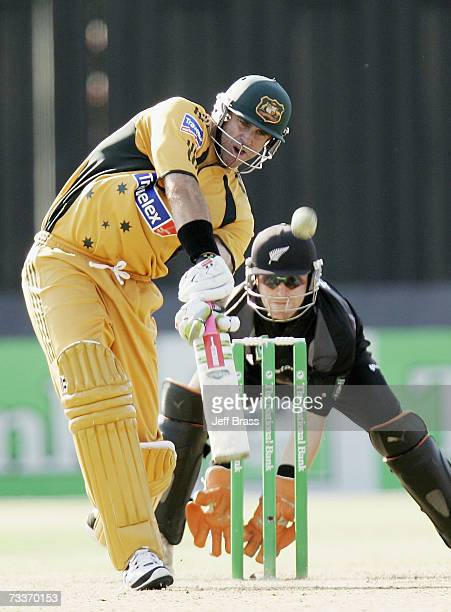 Matthew Hayden of Australia drives on his way to an Australian record of 181 not out during the third oneday international match of the...