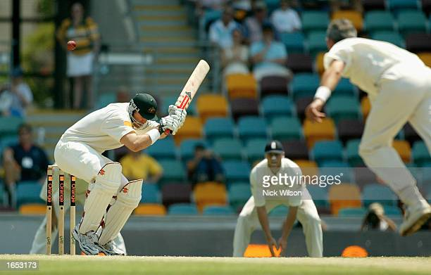 Matthew Hayden of Australia ducks a bouncer during day four of the First Ashes Test between Australia and England held at the Gabba in Brisbane...