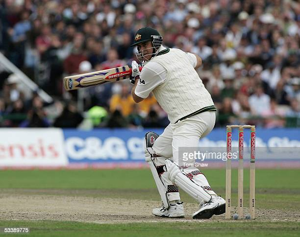 Matthew Hayden of Australia hits out during day five of the Third npower Ashes Test match between England and Australia at Old Trafford on August 15...