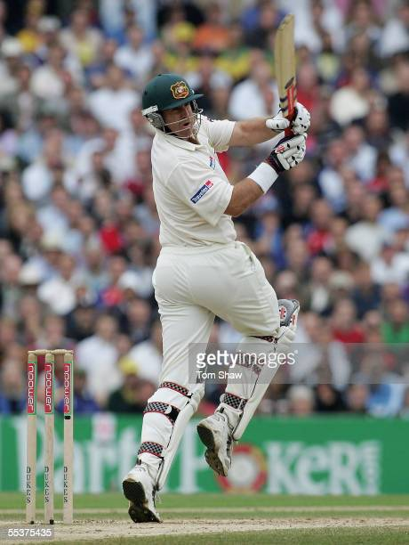 Matthew Hayden of Australia hits out during day four of the Fifth npower Ashes Test match between England and Australia at the Brit Oval on September...