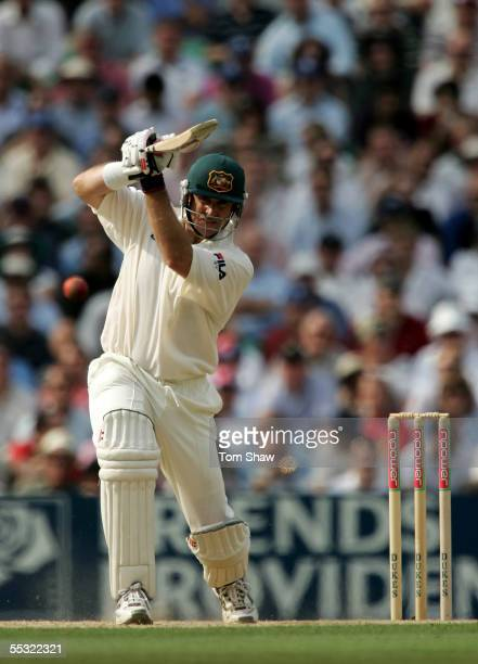 Matthew Hayden of Australia hits out during day two of the Fifth npower Ashes Test match between England and Australia at the Brit Oval on September...