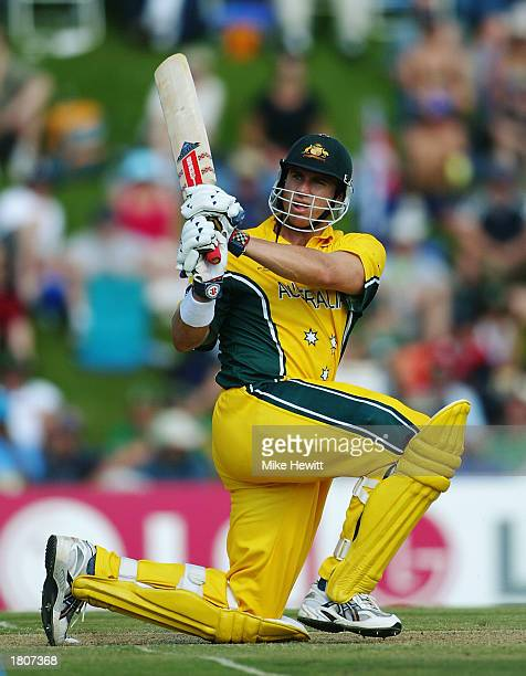 Matthew Hayden of Australia hits out during the ICC Cricket World Cup 2003 Pool A match between Australia and India held on February 15 2003 at the...
