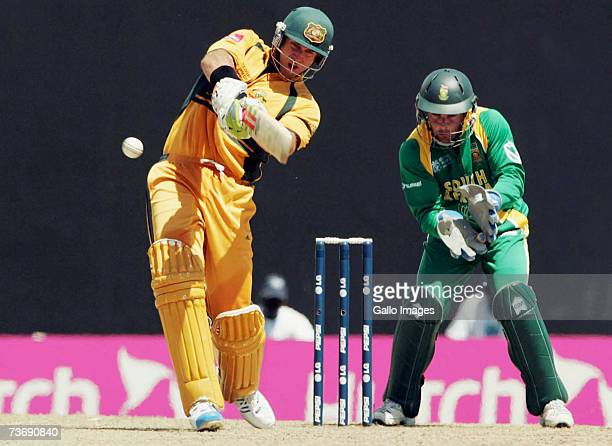 Matthew Hayden of Australia hits out during the ICC Cricket World Cup 2007 Group A match between Australia and South Africa at Warner Park on March...
