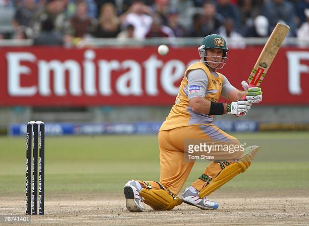 Matthew Hayden of Australia hits out during the ICC Twenty20 World Championship match between England and Australia at Newlands Cricket Ground on...