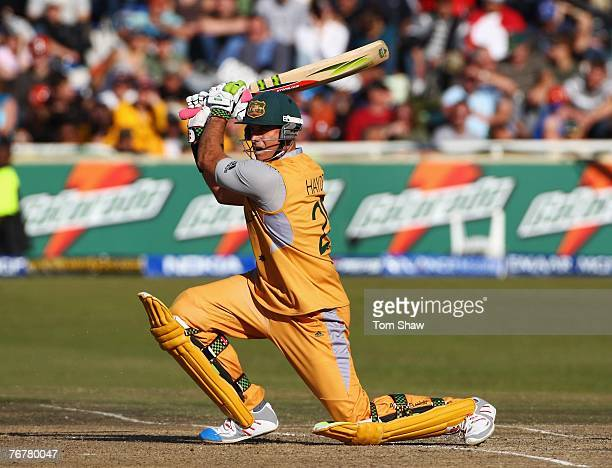 Matthew Hayden of Australia hits out during the Twenty20 Cup Super Eights match between Australia and Bangladesh at Newlands Cricket Ground on...