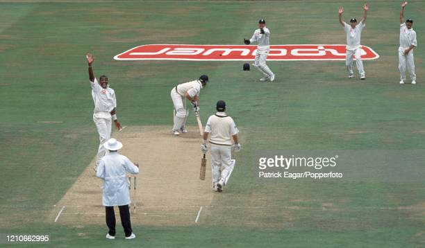 Matthew Hayden of Australia is out LBW for 42 runs to Alex Tudor of England during the 3rd Test match between England and Australia at Trent Bridge,...