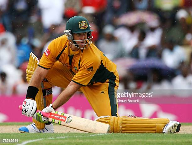 Matthew Hayden of Australia plays a shot during the ICC Cricket World Cup 2007 Super Eight match between Australia and West Indies at the Sir Vivian...