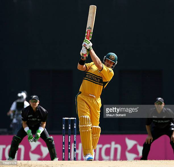 Matthew Hayden of Australia plays a shot during the ICC Cricket World Cup 2007 Super Eight match between Australia and New Zealand at the Grenada...