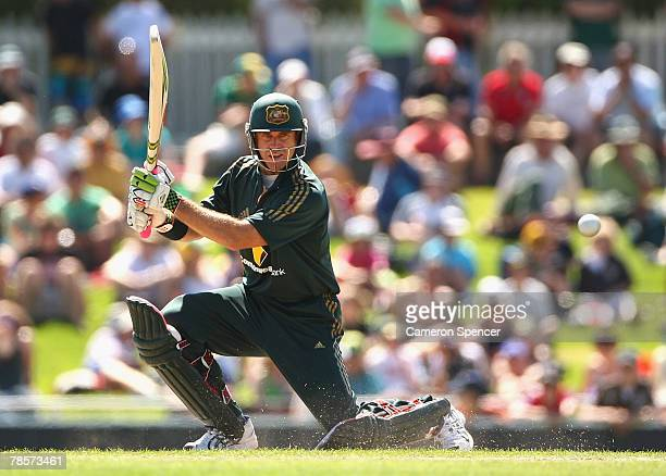 Matthew Hayden of Australia plays a shot during the third ChappellHadlee Trophy one day international match between Australia and the New Zealand...