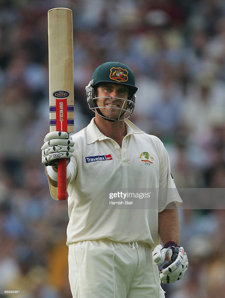 Matthew Hayden of Australia reaches his century during day three of the Fifth npower Ashes Test between England and Australia played at The Brit Oval on September 10, 2005 in London, United Kingdom.
