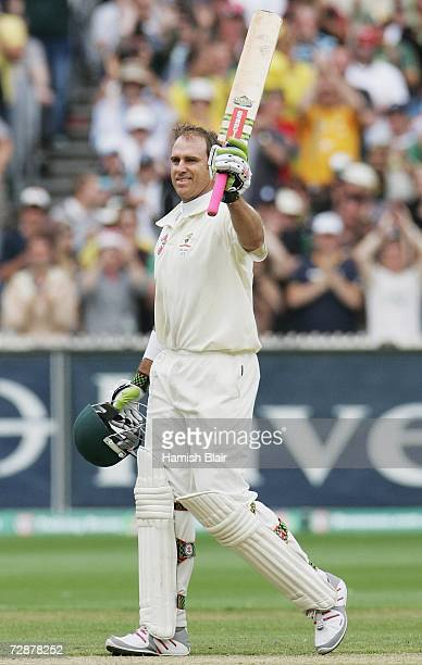 Matthew Hayden of Australia reaches his century during day two of the fourth Ashes Test Match between Australia and England at the Melbourne Cricket...