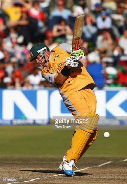 Matthew Hayden of Australia stops a bouncer during the Twenty20 Cup Super Eights match between Australia and Bangladesh at Newlands Cricket Ground on...