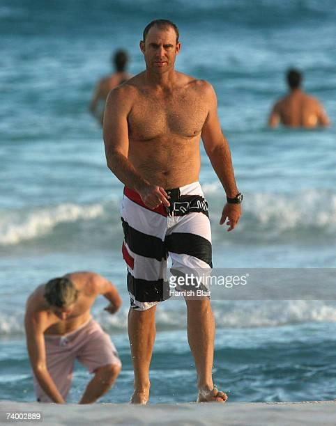 Matthew Hayden of Australia walks out of the sea outside the Hilton Hotel on April 27 in Bridgetown Barbados Australia will play Sri Lanka on April...