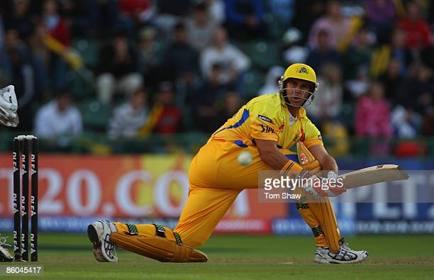 Matthew Hayden of Chennai hits out during IPL T20 match between Chennai Super Kings and Royal Challengers Bangalore at St Georges Cricket Ground on...