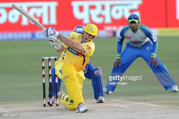 Matthew Hayden of Chennai Super Kings plays a shot during the Airtel Champions League Twenty20 match between Chennai Super Kings and Wayamba Elevens...