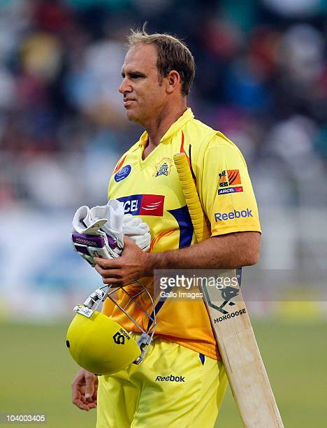Matthew Hayden of Super Kings leaves the field without scoring during the Airtel Champions League Twenty20 match between Chennai Super Kings and...