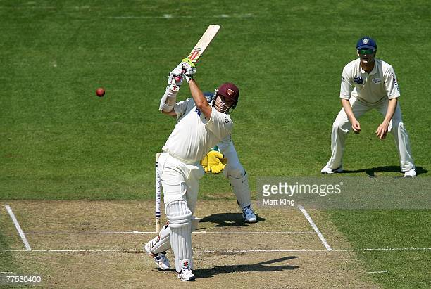 Matthew Hayden of the Bulls hits out during day two of the Pura Cup match between the Blues and the Bulls at the Sydney Cricket Ground October 27...