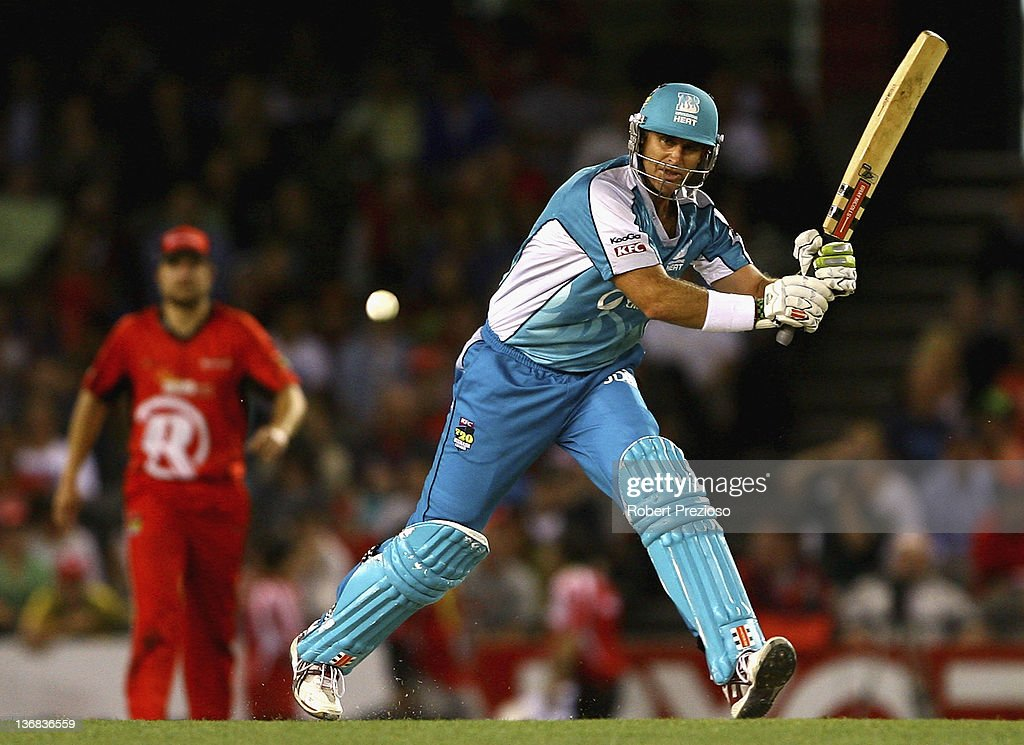 Matthew Hayden of the Heat plays a shot during the T20 Big Bash League match between the Melbourne Renegades and the Brisbane Heat at Etihad Stadium on January 12, 2012 in Melbourne, Australia.