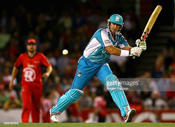 Matthew Hayden of the Heat plays a shot during the T20 Big Bash League match between the Melbourne Renegades and the Brisbane Heat at Etihad Stadium...