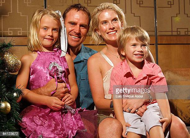 Matthew Hayden poses with his wife Kellie son Joshua and daughter Grace during the Australian cricket team's Christmas lunch at Crown Towers on...
