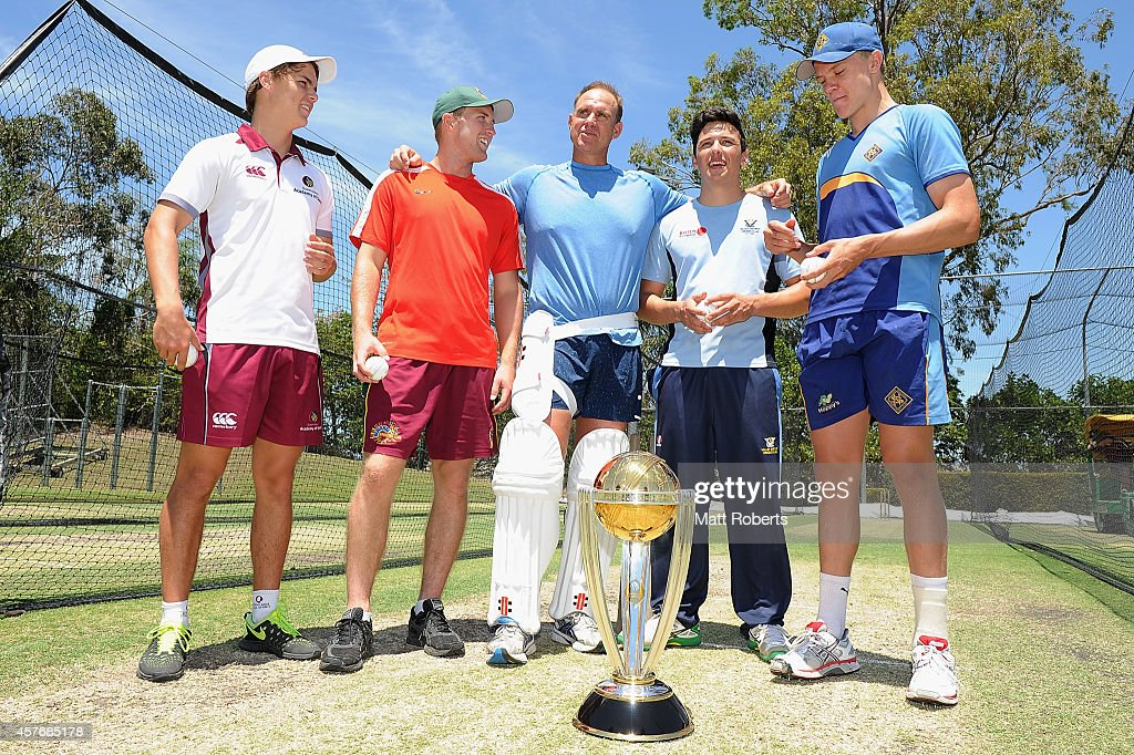 Matthew Hayden (C) poses with potential CWC net bowlers, Mitch Swepson, Adam Ball, Josh Dascombe and Jack Prestwidge during the ICC Cricket World Cup net bowler program launch at Allan Border Field on October 23, 2014 in Brisbane, Australia.