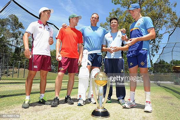 Matthew Hayden poses with potential CWC net bowlers Mitch Swepson Adam Ball Josh Dascombe and Jack Prestwidge during the ICC Cricket World Cup net...