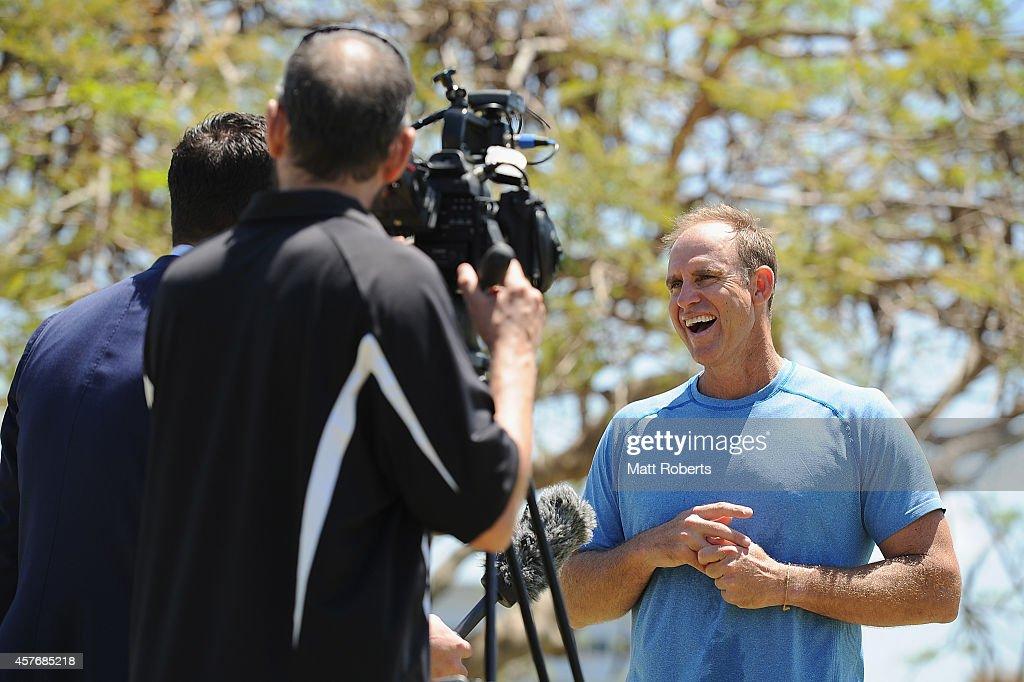 Matthew Hayden speaks to media representatives during the ICC Cricket World Cup net bowler program launch at Allan Border Field on October 23, 2014 in Brisbane, Australia.