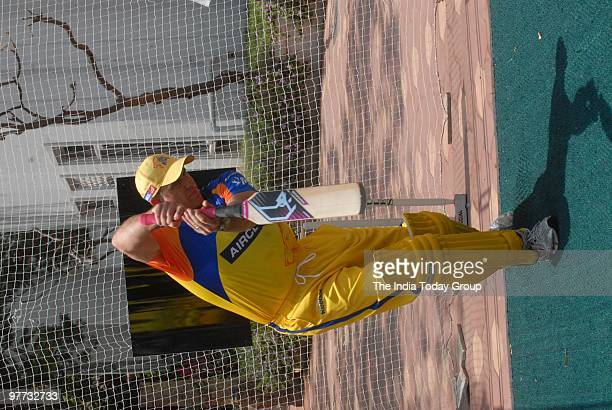 Matthew Hayden tries out the Mongoose bat at the nets during the launch of Mongoose bat in Chennai