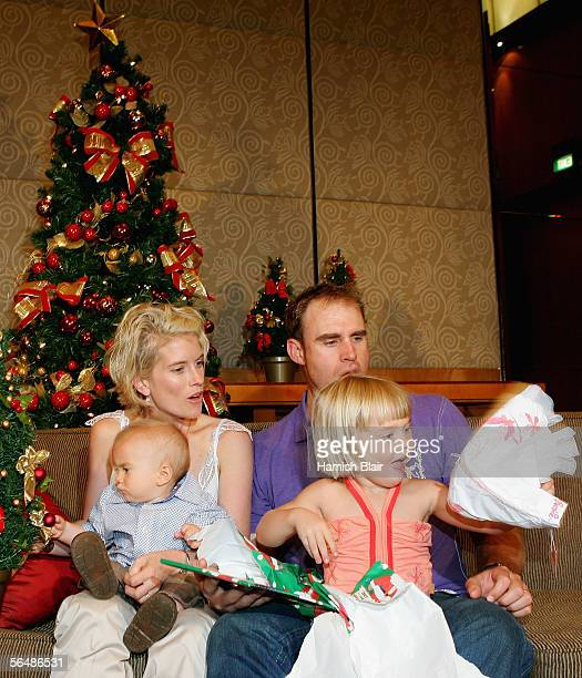 Matthew Hayden with daughter Grace son Josh and wife Kellie are seen during the Australian Cricket Team's Christmas Lunch held at the Crown Casino on...