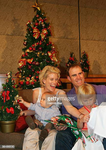 Matthew Hayden with daughter Grace son Josh and wife Kellie is seen during the Australian Cricket Team's Christmas Lunch held at the Crown Casino on...