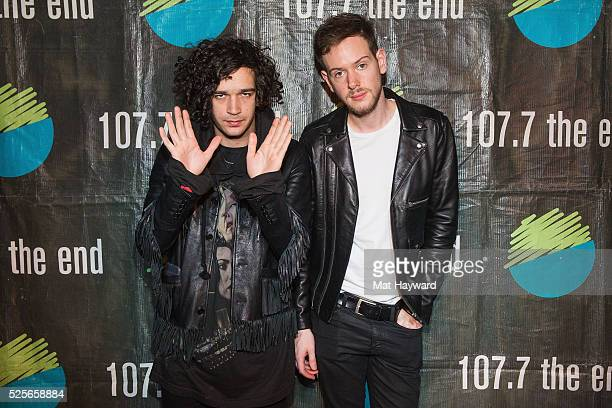 Matthew Healy and Adam Hann of The 1975 pose for a photo after performing an EndSession hosted by 1077 The End in studio on April 10 2016 in Seattle...