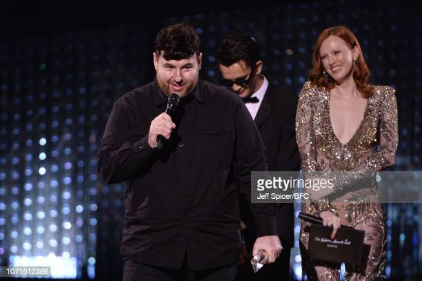 Matthew Healy and Karen Elson present Richard Quinn with British Emerging Talent Womenswear award during The Fashion Awards 2018 In Partnership With...