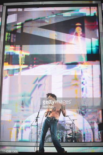 Matthew Healy of The 1975 performs at Coachella Stage during the 2019 Coachella Valley Music And Arts Festival on April 19 2019 in Indio California