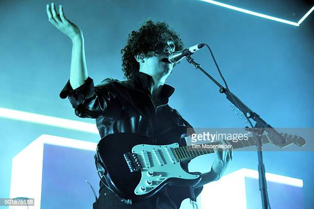 Matthew Healy of The 1975 performs in advance of the band's 'I Like It When You Sleep for You Are So Beautiful Yet So Unaware of It' release at Fox...