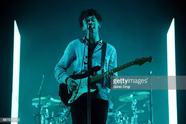 Matthew Healy of the 1975 performs live on day 3 of Reading Festival at Richfield Avenue on August 28 2016 in Reading England